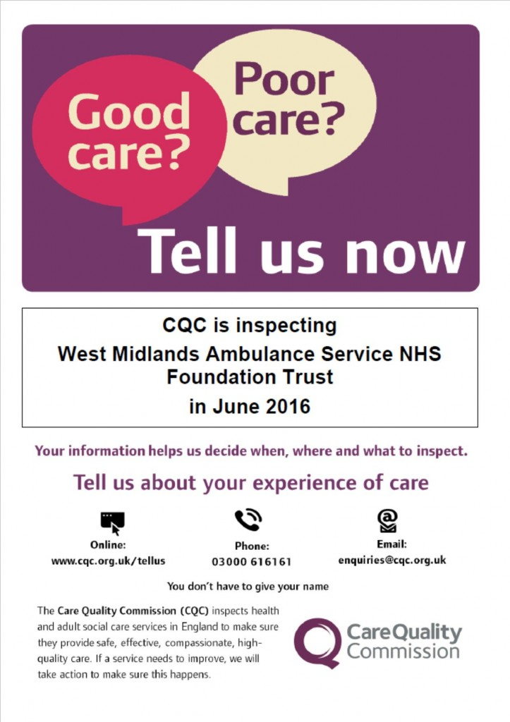 Notification of CQC inspection-West Midlands Ambulance Service